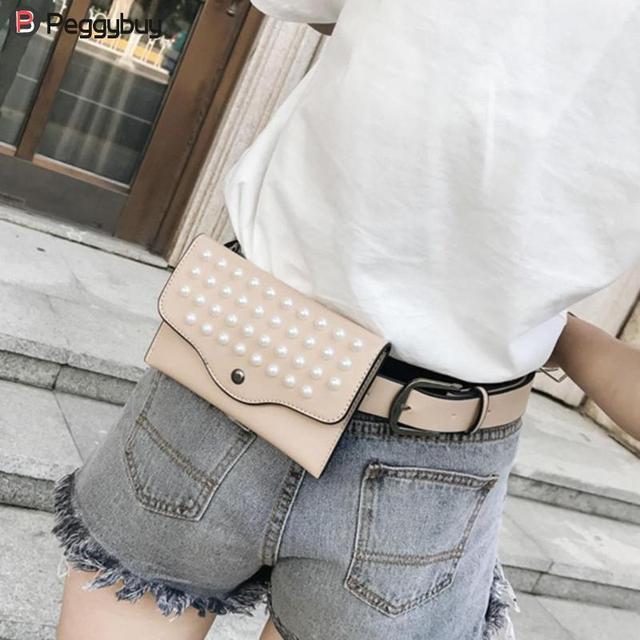 New Fanny Bags Pearls Rivets Mini Waist Pack Shoulder Crossbody Women PU Leather Belt Bags