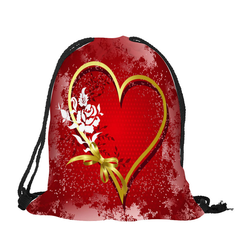 Outdoor Backpack Bags Christmas gift storage bag Valentine's Day Drawstring Bag Sack Sport Gym Travel pouch student bag #2a (10)