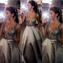 Beaded Sparkly Prom Dresses From China Vestidos De Festa V Neck Imported Party Dress A Line