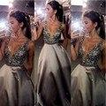 Con cuentas brillantes vestidos de baile de china vestidos de fiesta con cuello en v importado party dress una línea de raso vestidos de noche formales 2017