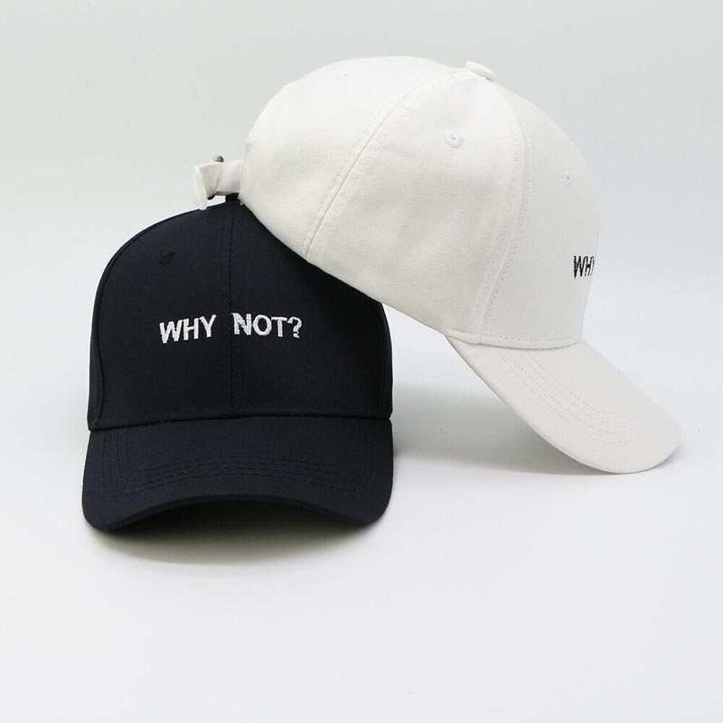 Letter WHY NOT Snapbacks   Baseball     Cap   Hip Hop Hat For Men Women Dad Hat Gorras Boy Girls Cotton Black White Fitted Hat Bone   Caps