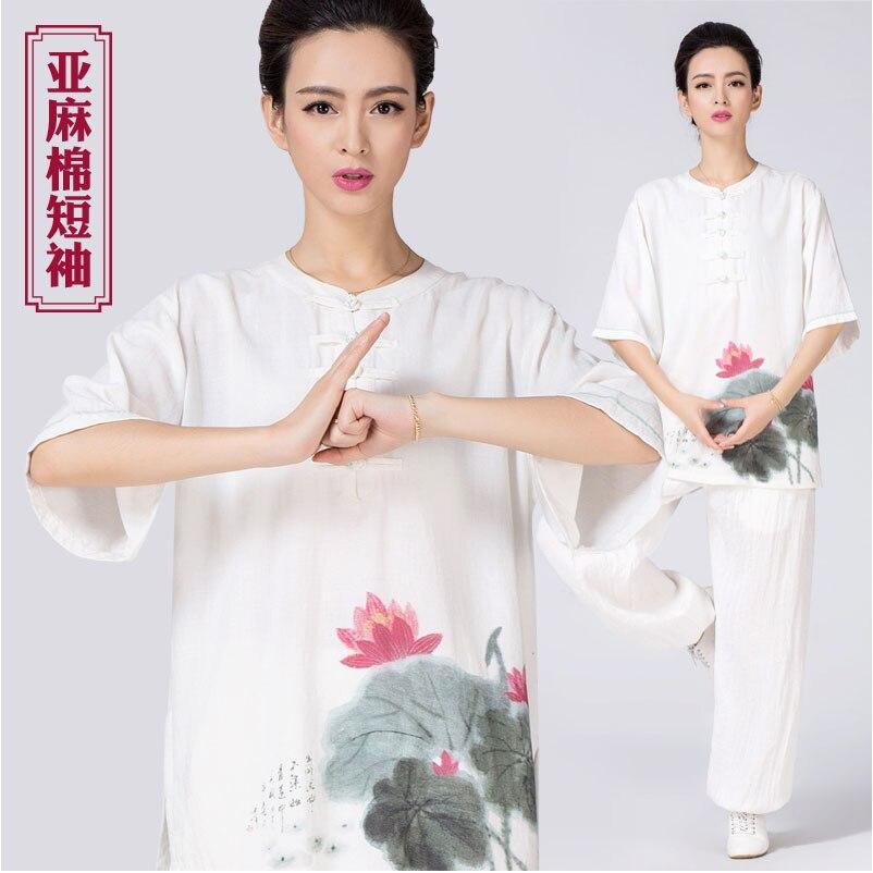 Ancient Chinese printing series 2016 linen cotton short sleeved summer lotus morning tai chi clothing
