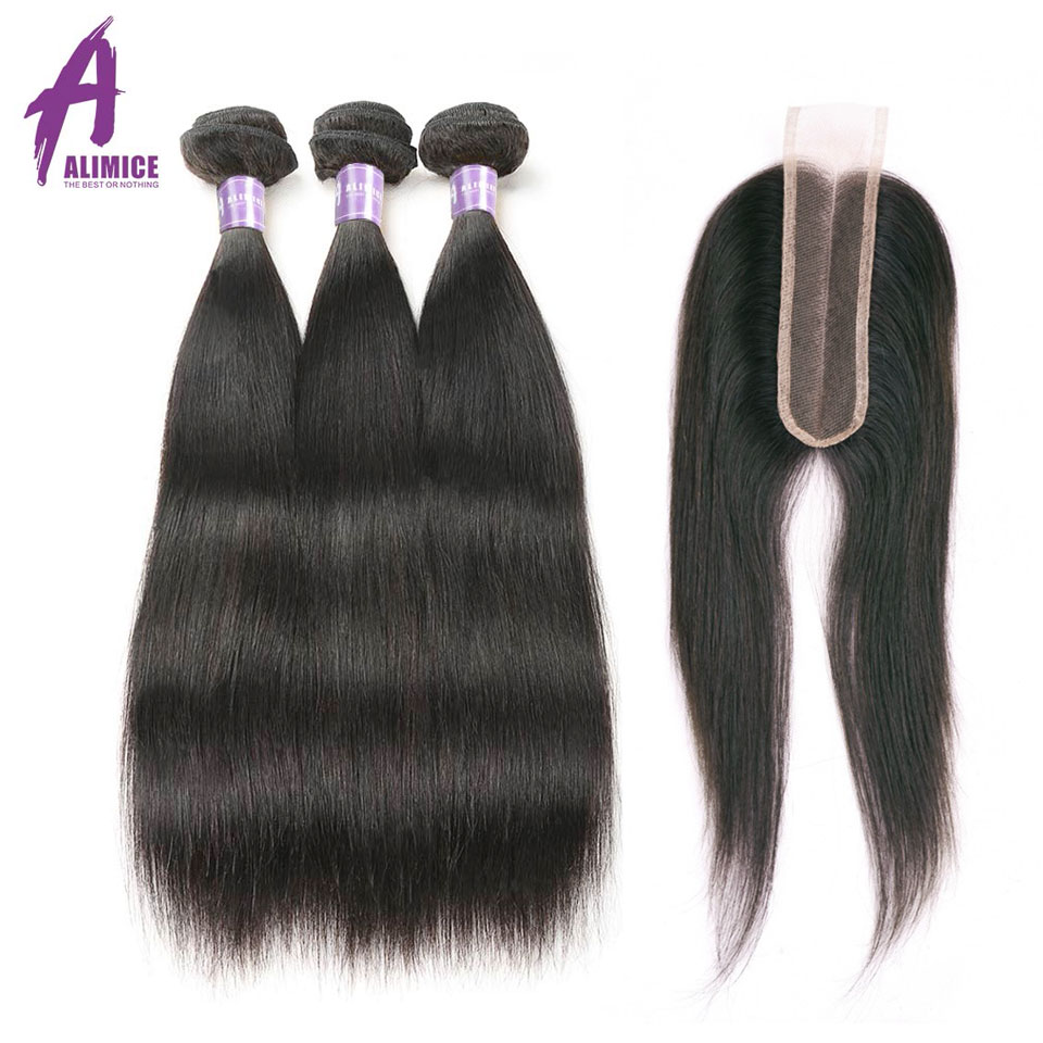 ALIMICE Indian Straight Hair 3 Bundles With Closure 2 6 Middle Part Hair Extension With Closure
