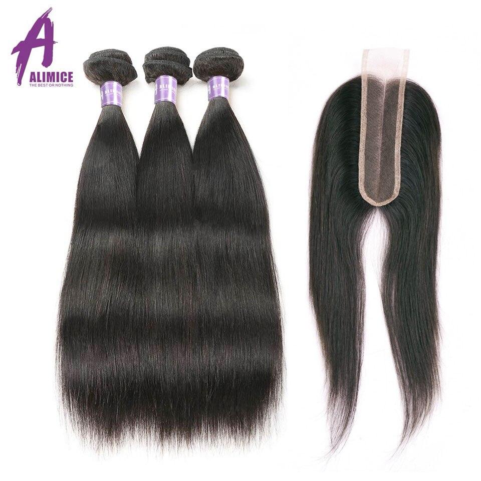 ALIMICE Indian proste włosy 3 wiązki z zamknięciem 2*6 środkowa część przedłużanie włosów z zamknięciem człowieka wiązki włosów z zamknięciem w 3/4 pasma z siateczką od Przedłużanie włosów i peruki na AliExpress - 11.11_Double 11Singles' Day 1