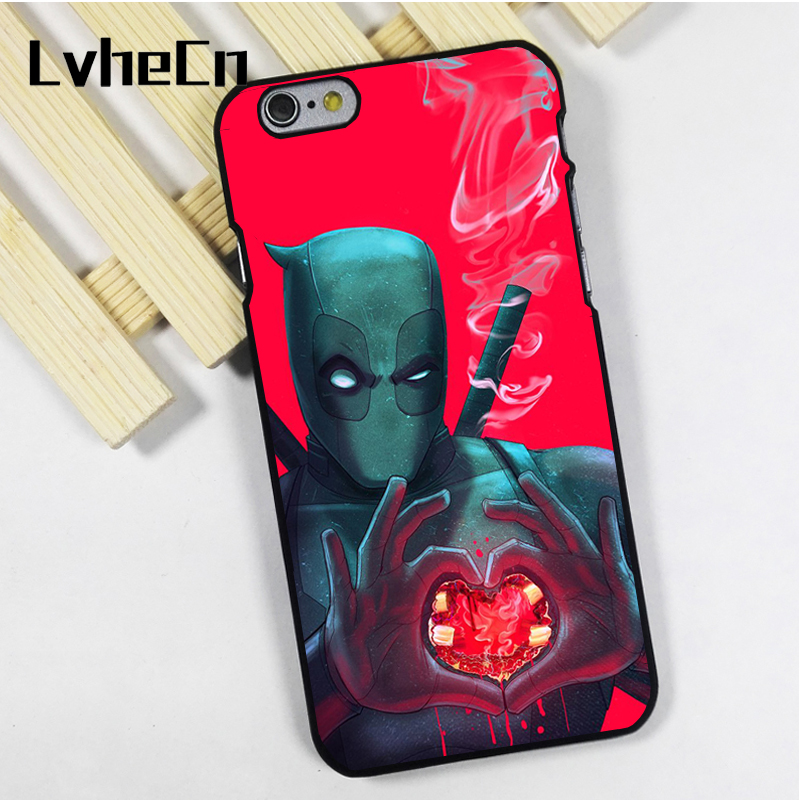 LvheCn phone case cover fit for iPhone 4 4s 5 5s 5c SE 6 6s 7 8 plus X ipod touch 4 5 6 Deadpool Heart Cool Marvel Superhero