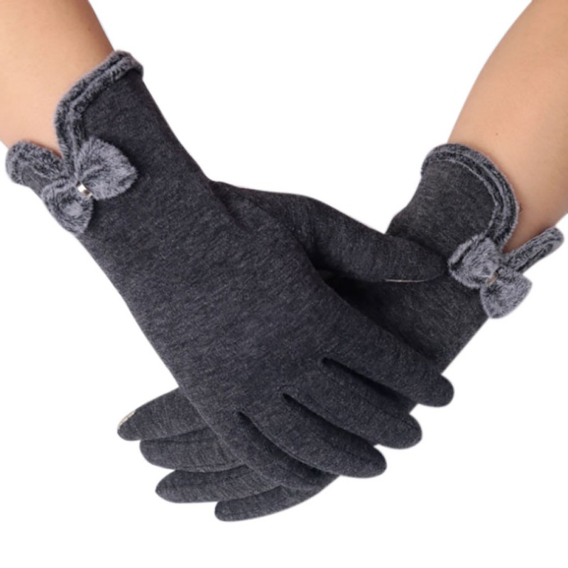 New Fashion Women Gloves Autumn Winter Cute Bow Black Warm Mitts Full Finger Mittens Women Cashmere Female Gloves