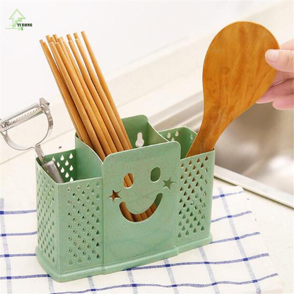 c0cb49f8547a YI HONG Tableware Storage Holder Hollow Out Drain Water Design Kitchenware  Storage Basket Chopsticks Cage A1146c