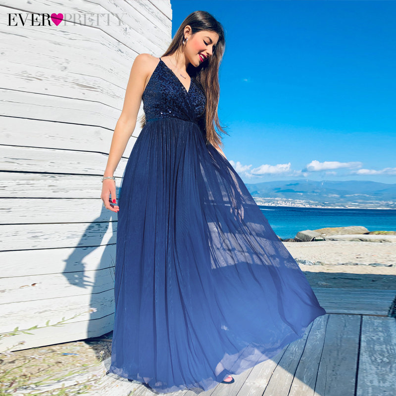 Robe De Soiree 2019 Ever Pretty EP07468NB New Elegant A Line V Neck Backless Long Formal Evening Dresses Sequined Party Gowns