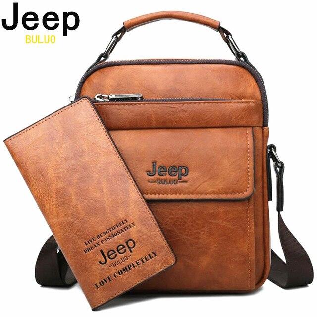 JEEP BULUO erkekler omuz çantaları yüksek kaliteli çanta erkek askılı çanta moda bölünmüş deri erkekler Tote 2019 yeni 2 adet/takım