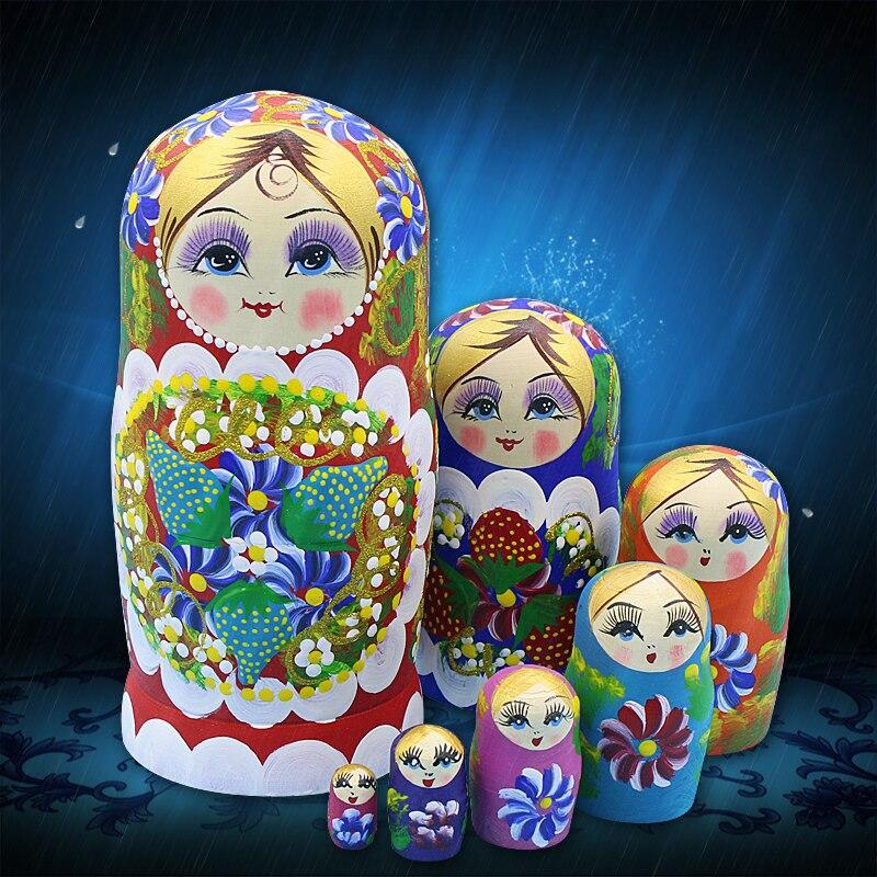 Mnotht 7 pièces Poupées Russes bricolage Éducation De Haute Qualité Sec Tilleul Matryoshka Poupée pour Enfants Cadeau Jouets L30