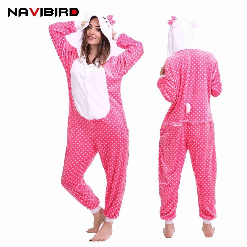 Winter Animal Onepiece Kigurumi Long Sleeve Cartoon Pijama Onesie Women Men Cute Dots Cat Onsie Sleepwear Onesies For Adults