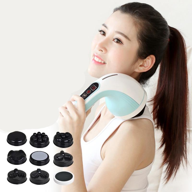 Vibratory body machine rechargeable massager, massage apparatus, wireless neck massager back massage stick slimming rechargeable 4 mode neck shoulder massager w music pink