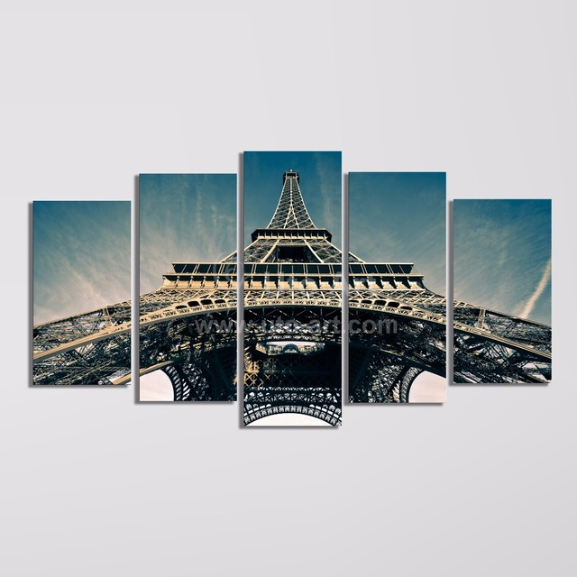 Custom Canvas Wall Art modern 5 piece wall art painting paris city custom canvas prints