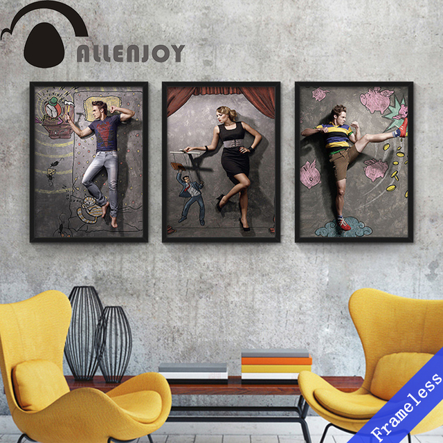Abstract Figures Retro Cafe Restaurant Bar Poster Bathroom Decoration Oil Paintings Art Canvas Painting Wall Picture