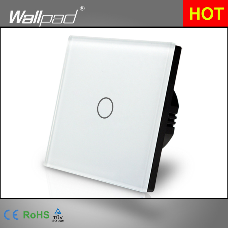 Hot White Crystal Glass Panel wall switch EU UK Standard 110~250V 1 gang Dimmer White Touch Screen Panel Wallpad uk standard 1gang1way led touch dimmer switches white crystal glass panel light wall switch dimmer smart home ac220v
