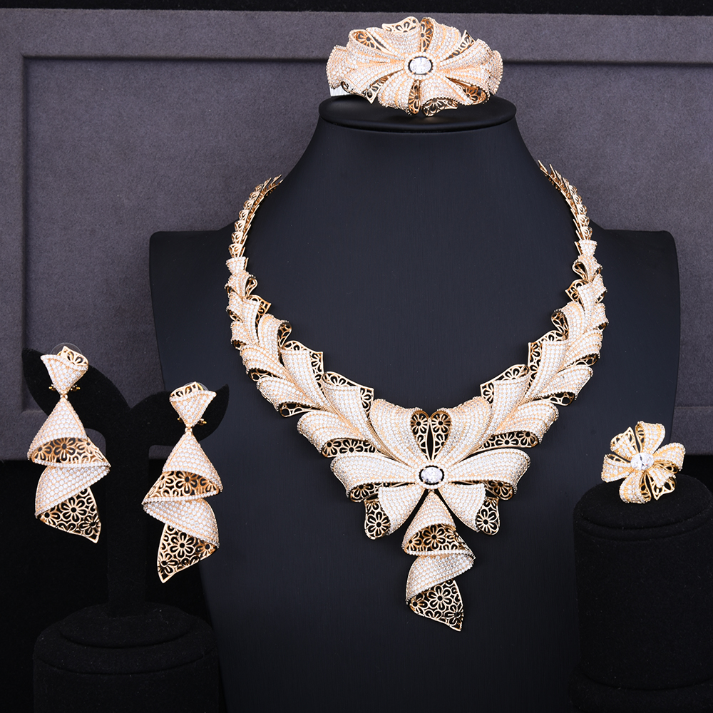 GODKI Luxury Cubic Zircon Wedding Nigerian Jewelry Set for Women Indian African Dubai Bangle Ring Necklace Earring Jewelry Set