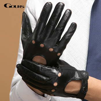 Gours Men's Fall and Winter Genuine Leather Gloves New Fashion Brand Black Warm Driving Unlined Gloves Goatskin Mittens GSM034 1