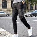 Nuevo 2017 otoño del resorte pantalones casuales para hombre ropa de la marca de moda masculina pantalones casuales elástica pantalones de chándal negro 5XL