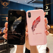 Luxury Smooth Feather Mirror pink soft Case For iPhone X 8 7 6 6S Plus Phone Cover For Huawei P20 pro Honor 9/10 lite Back Funda(China)