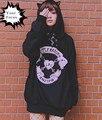 2016 japanese harajuku punk rock gothic k-pop one spo love little bad girl towel embroidery hoodies women cat ears cute hoodie