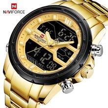 купить NAVIFORCE Top Luxury Brand Mens Digital Analog Military Golden Steel Watch Fashion Sport Waterproof Clock Relogio Masculino по цене 1514.02 рублей