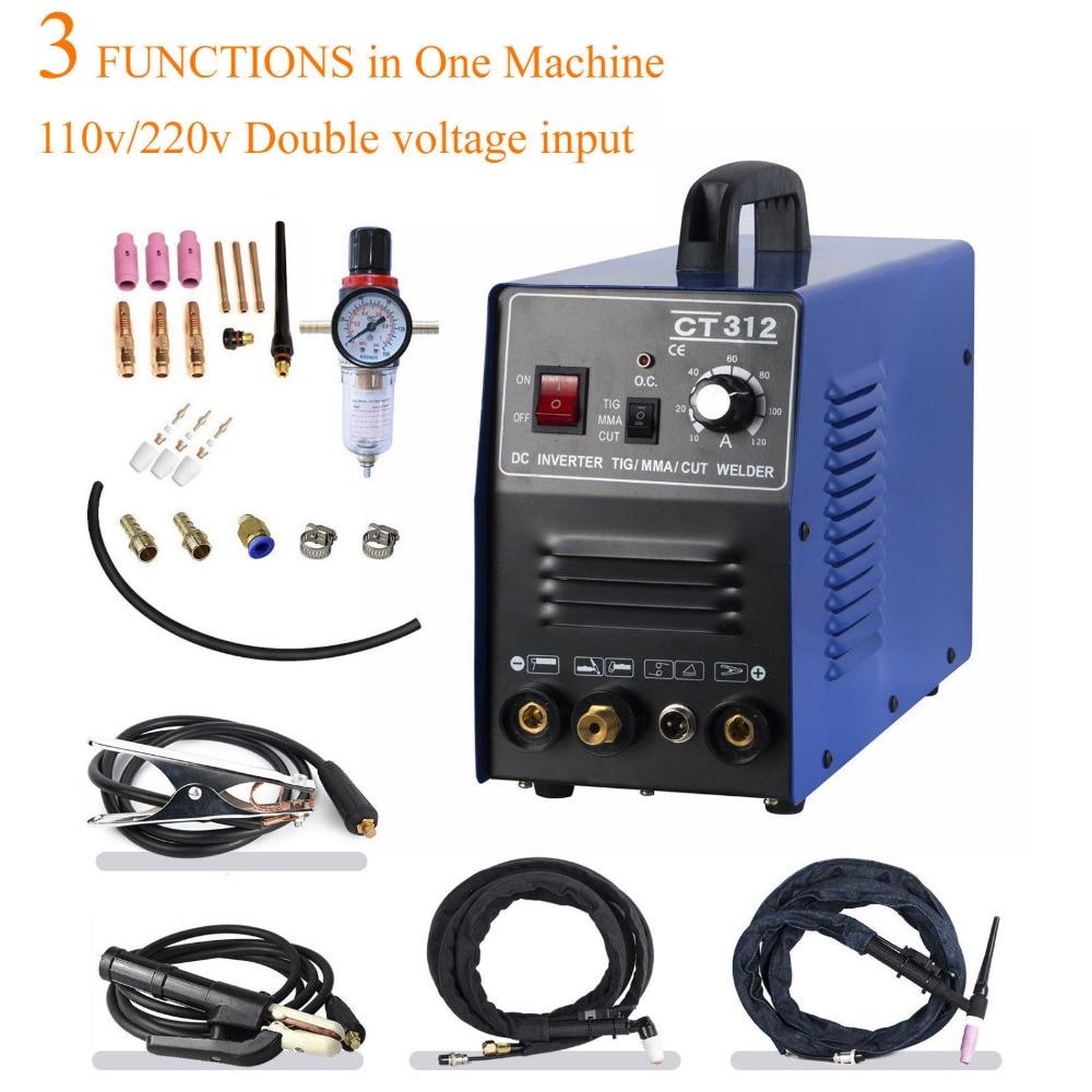 Tosense 110/220V Dupla Voltagem 3 Em 1 Multifunções Máquina de Solda De Corte Plasma Soldador TIG ARC CT312 Com acessório livre