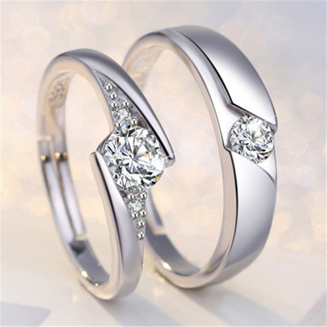 100% Real Sterling Silver  Diamond Pave Setting Adjustable Opening Couple Ring Gemstone Ring Set 1
