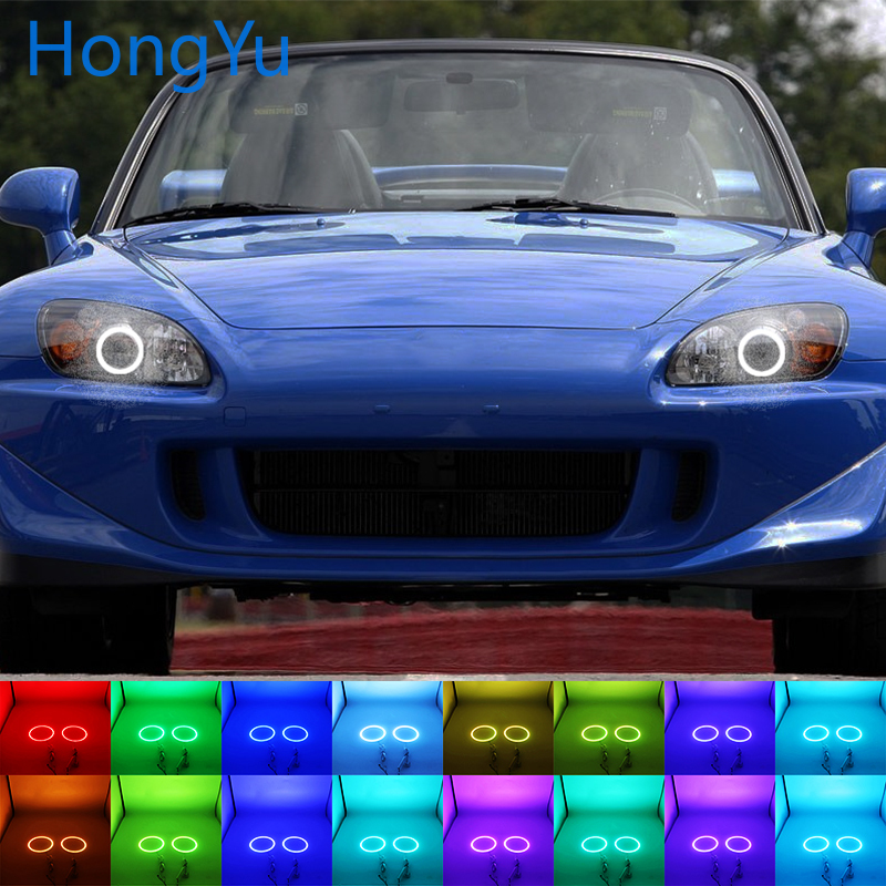 Latest Headlight Multi color RGB LED Angel Eyes Halo Ring Eye DRL RF Remote Control for Honda S2000 1999 2003 Accessories