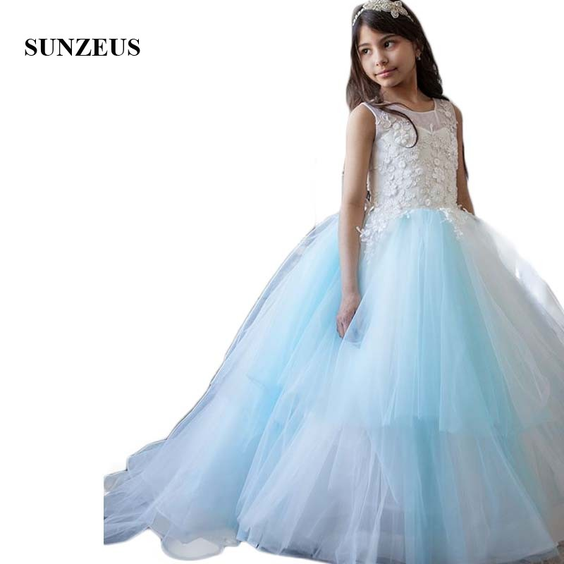 White and Blue Tulle Color Mixture A-Line Princess   Flower     Girls     Dresses   Lace Appliques Handmade   Flowers     Girls   Pageant   Dress   SF23