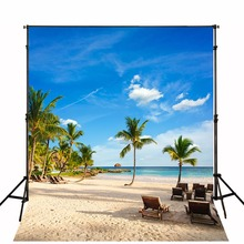 TR Tropical Style Photography Backdrops Blue Sky Golden Beach Backgrounds for Photo Studio Green Tree Photo Studio Props Camera