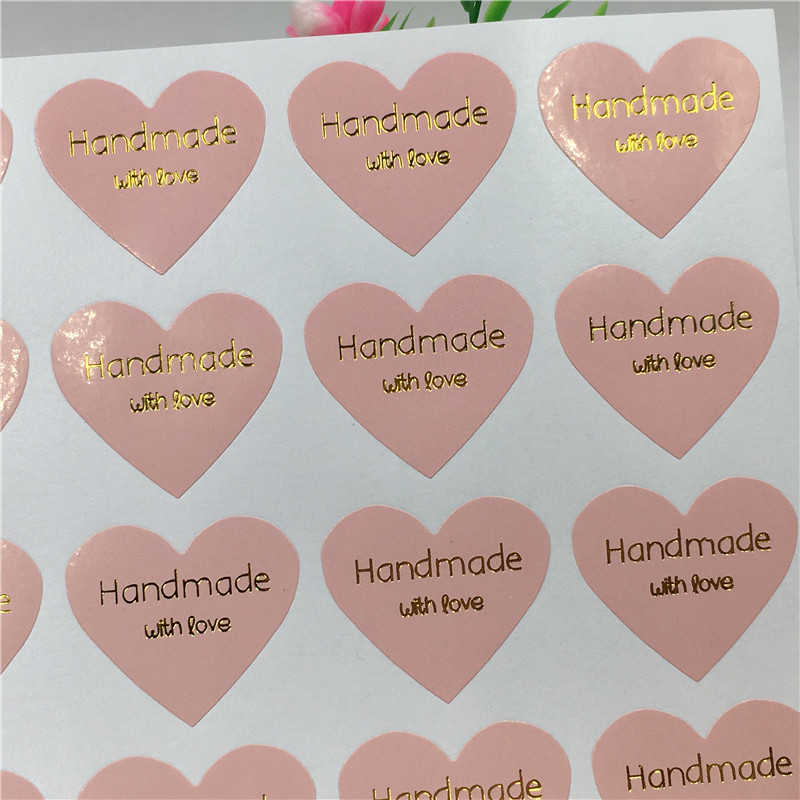 50 pcs Gold Handmade with love Sticker Labels Pink Sealing Label Wedding Stickers Packing Labels For Cake/Gifts/Box/Jewelry