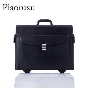 Image 2 - Дизайнерский чемодан на колесиках из натуральной коровьей кожи, деловой чемодан пилота, капитана, женский модный Дорожный чемодан, мужской черный чехол