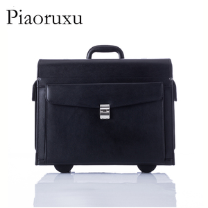 Image 2 - Designer Genuine Cow Leather Trolley Business Pilot Captain Luggage Women Fashion Travel Suitcase Mens Case Black