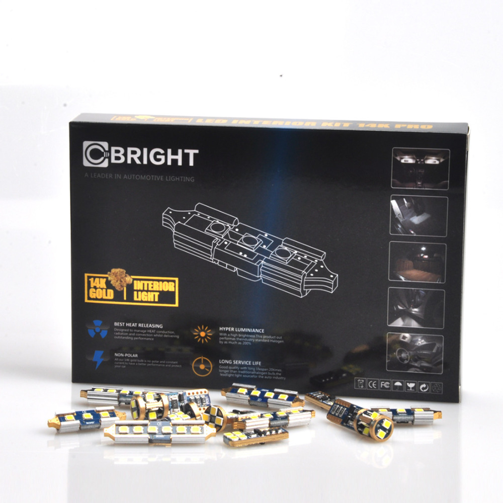 20 pcs Sans Erreur Xenon Blanc 14 K Or Full LED Intérieur Carte Dome lumière Kit pour BMW E60 Berline + M5 AVEC Samsung 3030 LED