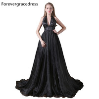 Forevergracedress Gorgeous A Line Long Black Evening Dress New Halter Neck Sleeveless Formal Party Gown Plus Size Custom Made