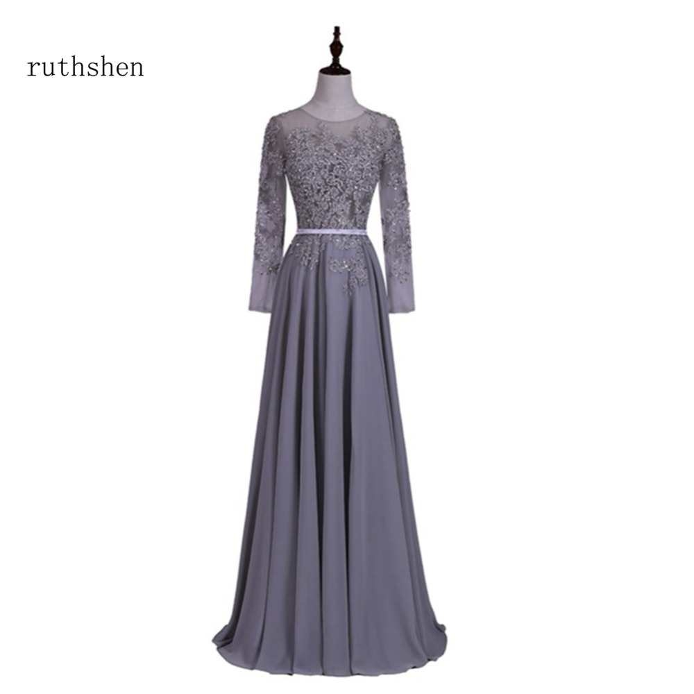 ruthshen Long Sleeves Evening Dresses 2018 New Beaded Lace Appliques ...