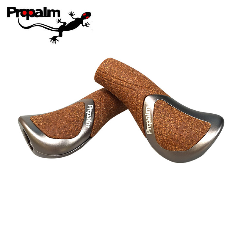 Propalm 859AP-CK Mountain Bike Handlebar Grips Cork Wood Aluminum Alloy Bicycle Components Bar Ends MTB Handlebars Soft Grips