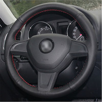 leather hand Top Leather Steering Wheel Hand-stitch on Wrap Cover For Skoda Yeti 2014 2015 2016 Rapid 2015 (3)