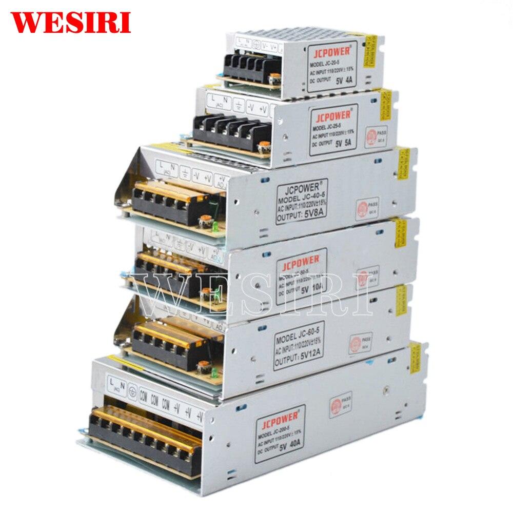 Светодиодный блок питания для трансформеров WS2812B WS2801 SK6812 SK9822 APA102, DC5V 2A/3A/4A/5A/8A/10A/12A/20A/30A/40A/60A