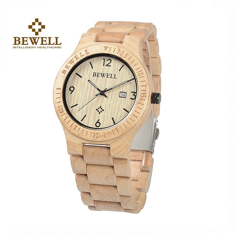 BEWELL Pánské hodinky Nature Maple Quartz hodinky Muži Wooden - Pánské hodinky