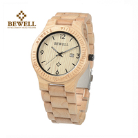 BEWELL Men's Watches Nature Maple Quartz Watch Men Wooden Strap watches men luxury hand watch Relogio Masculino with  Box 086B