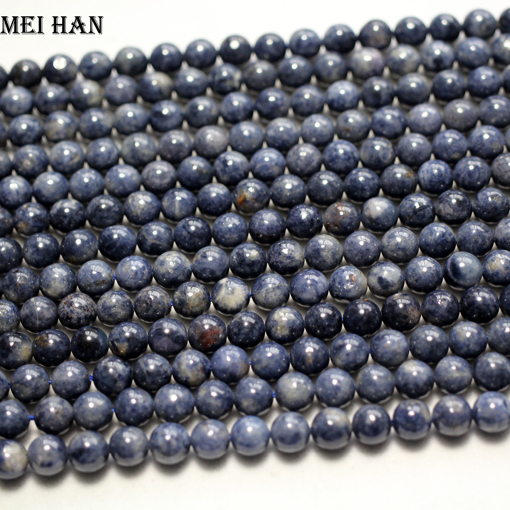 Meihan Free shipping 52beads strand natural 7 5 8mm Blue Sapphire smooth round loose beads for
