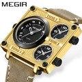 MEGIR мужские часы лучший бренд класса люкс Уникальные дизайнерские часы мужские модные квадратные большие лица 3 часовые зоны повседневные к...