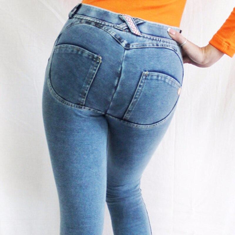 2018 New Women Peach Jeans Lift Hips Skinny Casual Denim High Elastic Pants Push Up Jeggings Slim Women Jeans Pencil Pants