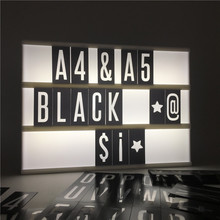 Brand New 96 PCS Letter Number Symbol Lightbox Retro Black Background  A4 A5 Cinema Light Box Card DIY Message Board