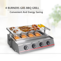 BBQ Gas Grills LPG Gas 4 Burners Gas Grills For Outdoor Camping Picnic Barbecue Tools Infrared Grill BBQ Plate
