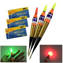 3Pcs LED Balsa Wood Lighting Electronic Fishing Float Rock Saltwater Sea Luminous Fishing Buoy Glow Fishing Floats