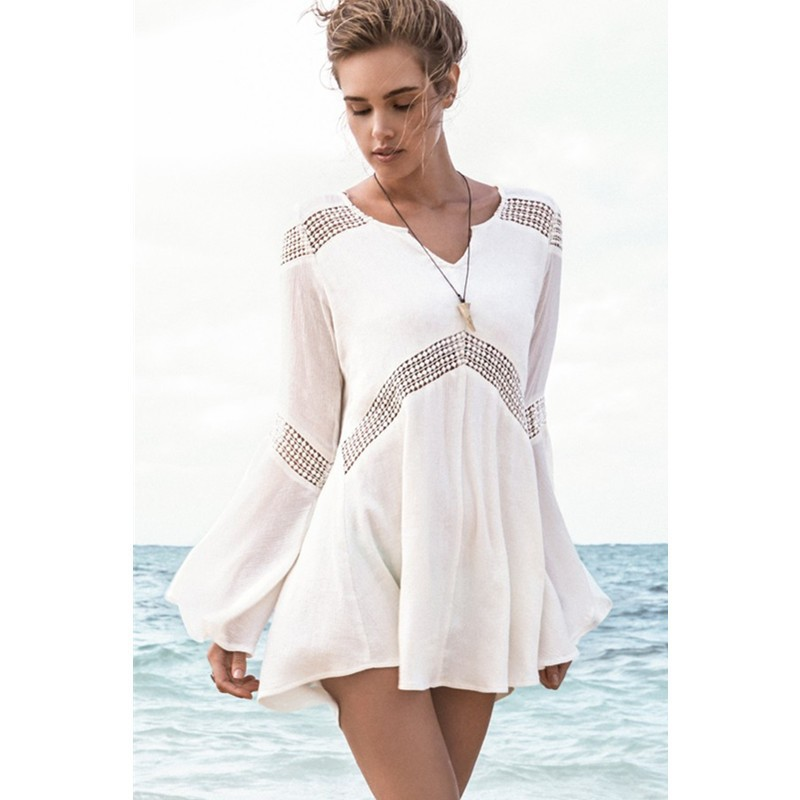 4b5929c466 Bell Sleeves Hollow-out White Beach Tunic Woman Beachcwear 2015 Sexy Woman  Chiffon Beach Wear Flirt Vacation V Neck ...