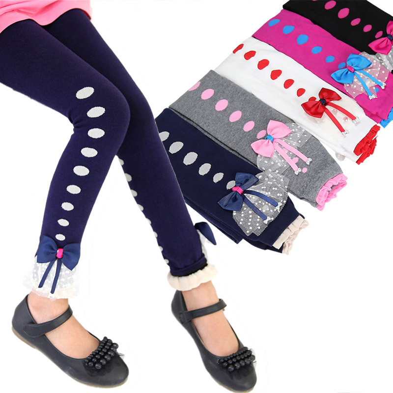 Girls Leggings Cotton getry dla dziewczynki Lace Bow Kids Winter Autumn Pants Leggins Warm Trousers for Girls leguin infantil
