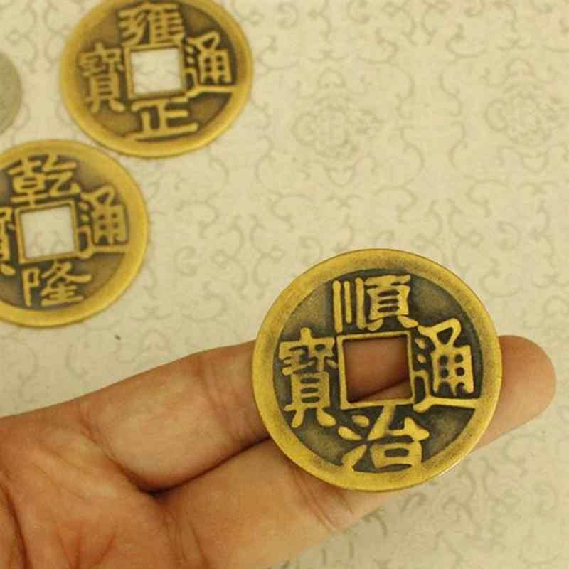 10 Pcs Cina Feng Shui I Ching Divination Koin untuk Keberuntungan Sukses Kemakmuran